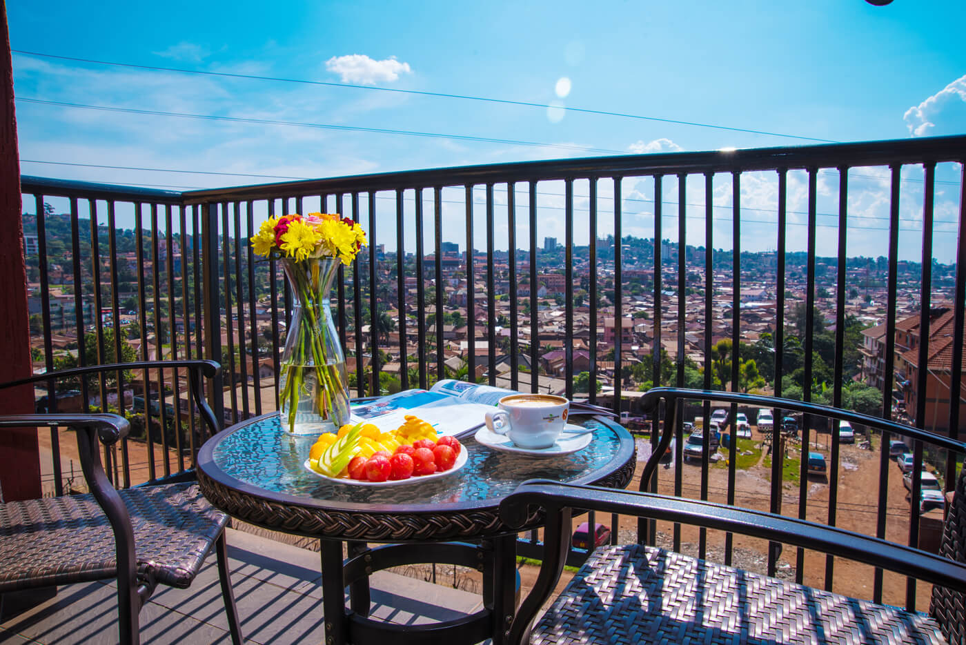 Bukoto Heights Apartments -Dining on Balcony
